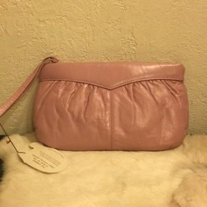 Genuine Leather Light Pink Zip close Lined Bag NWT